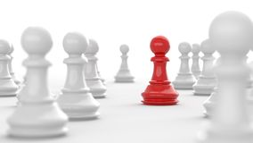 Red pawn of chess. Leadership concept, red pawn of chess, standing out from the crowd of white pawns, on white background. 3D rendering Stock Photos