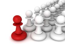 Leadership concept red pawn forward white pawns team group Stock Photography