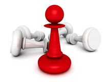 Leadership concept red pawn forward Stock Images