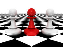 Leadership concept red pawn forward white pawns Royalty Free Stock Images