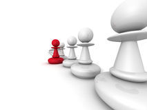 Leadership concept red pawn forward white team group Stock Photography