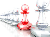Leadership concept red pawn forward white team group Royalty Free Stock Image