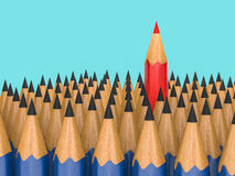 Leadership concept with red pencil Stock Photography