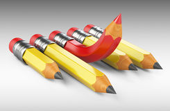 Leadership concept with red pencil upward. Royalty Free Stock Image