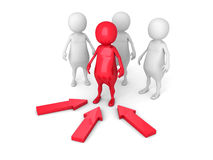 Leadership Concept with Red Person Leader Stock Image