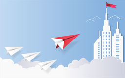 Leadership concept, Red plane and white architectural building landscape  Royalty Free Stock Images