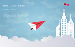 Leadership concept, Red plane and white architectural building landscape Royalty Free Stock Image