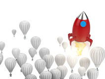 Leadership concept with red rocket. Leadership concept with 3d rendering red rocket above blue hot air balloons stock illustration