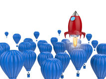 Leadership concept with red rocket. Leadership concept with 3d rendering red rocket above blue hot air balloons Royalty Free Stock Photography