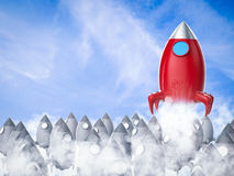 Leadership concept with red space shuttle launch. On blue sky background vector illustration