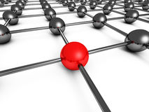 Leadership Concept With Red Sphere And Many Chrome Spheres. 3d Render Illustration Stock Image