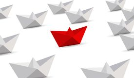 Leadership concept. Red and white paper boats. Royalty Free Stock Image