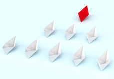 Leadership concept. Red and white paper boats Royalty Free Stock Photos