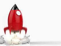 Leadership concept with rocket. Leadership concept with 3d rendering rocket launch stock illustration
