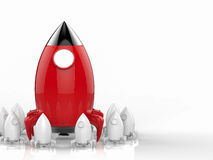Leadership concept with rocket. Leadership concept with 3d rendering rocket launch Royalty Free Stock Photos