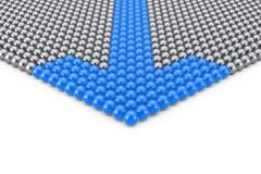 Leadership Concept. Rows of Chrome Spheres with Blue Arrow Spher. Es on a white background. 3d Rendering Royalty Free Stock Photography