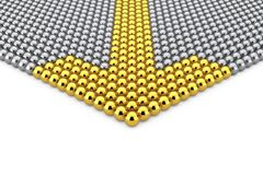 Leadership Concept. Rows of Chrome Spheres with Golden Arrow Sph. Eres on a white background. 3d Rendering Stock Photo
