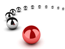 Leadership concept with spheres on white Stock Photo