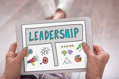 Leadership concept on a tablet. Leadership concept shown on a tablet held by a woman Stock Images