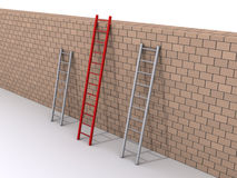Leadership concept with three ladders Royalty Free Stock Photography