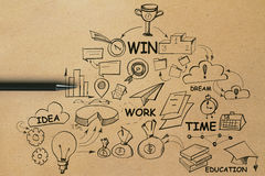 Leadership concept. Top view of brown paper background with pen and business sketch. Leadership concept Royalty Free Stock Photography
