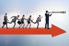 The leadership concept with various business people stock images