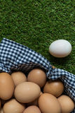 Leadership Concept : White egg is outstanding from the group of Stock Photo
