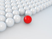 Leadership concept, white and red balls Stock Photos