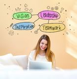 Leadership concept with woman using laptop stock illustration