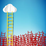 Leadership concept with yellow winner ladder among red ladders v Stock Image