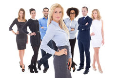 Leadership concept - young beautiful business woman and her  col Royalty Free Stock Images