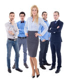 Leadership concept - young beautiful business woman and her male Royalty Free Stock Photos