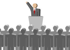 Leadership conference. Many people hold a meeting, on the platform, a person talk, speech, publicity royalty free illustration
