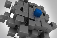 Leadership Cubes Concept. 3D Cubes Illustration. Blue Leader Cube Concept Royalty Free Stock Photography