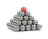 Leadership 3D Concept. Pyramid of Metallic Balls with One Red on Top on White Background 3D Illustration Stock Images