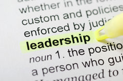 Leadership. Dictionary definition of leadership, highlighted with yellow marker Royalty Free Stock Photo