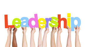 Leadership. Diverse Hands Holding The Word Leadership royalty free stock images