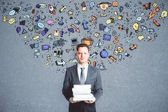Leadership and education concept. Abstract image of businessman with creative business sketch Stock Image