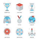 Leadership elements line icons set Stock Photography