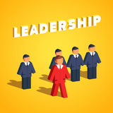 Leadership and entrepreneurship concept. Man stands out of line to lead his colleagues. Flat style vector illustration  on white background Royalty Free Stock Images