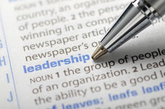 Leadership. Fountain pen pointing leadership word royalty free stock photos