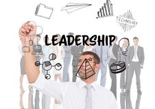Leadership graphic in front of business people Royalty Free Stock Images