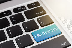 LEADERSHIP : Green button keyboard computer Royalty Free Stock Photography