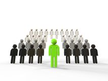 Leadership green concept. 3D render image representing leadership concept. One green leader in front of a crowd Stock Photos