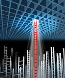 Leadership Guidance. With the ability and competence to succeed where others have failed with a three dimensional grid and a group of failed ladders with one vector illustration