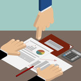 Leadership. Head Hand pointing at documents. iznes, accounting a. Nd finance. Workplace. Vector isometric Royalty Free Stock Images