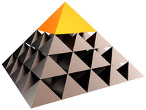 Leadership hierarchy pyramid (Hi-Res). Abstract leadership hierarchy pyramid. Volume metallic triangle structure with orange cap. All seeing big brother eye Royalty Free Stock Photo