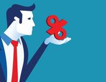 Leadership holding percentage. Concept business percentage vector illustration, Flat cartoon style design royalty free illustration