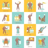 Leadership icons flat line Royalty Free Stock Photography