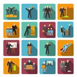 Leadership icons flat Royalty Free Stock Photo